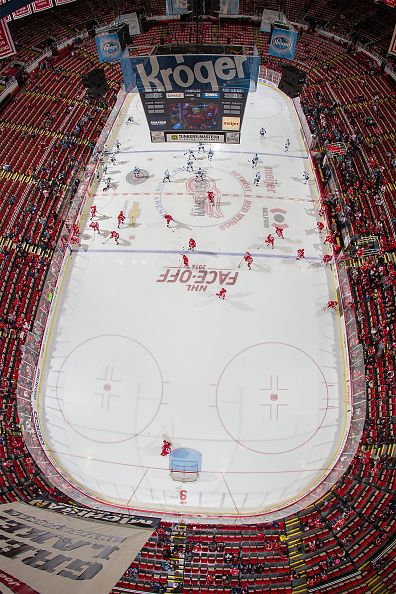 A wide view from the rafters of warm ups of the Detroit Red Wings and the San Jose Sharks before an NHL game at Joe Louis Arena on October 22 2016 in...