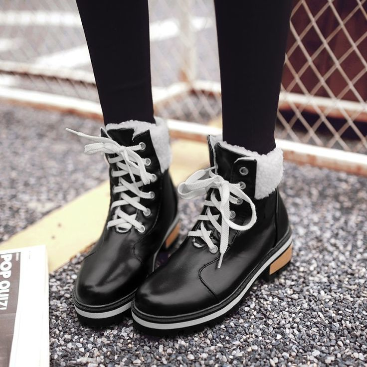 Lace Up Fur Ankle Boots Women Thick Heeled Shoes 9081