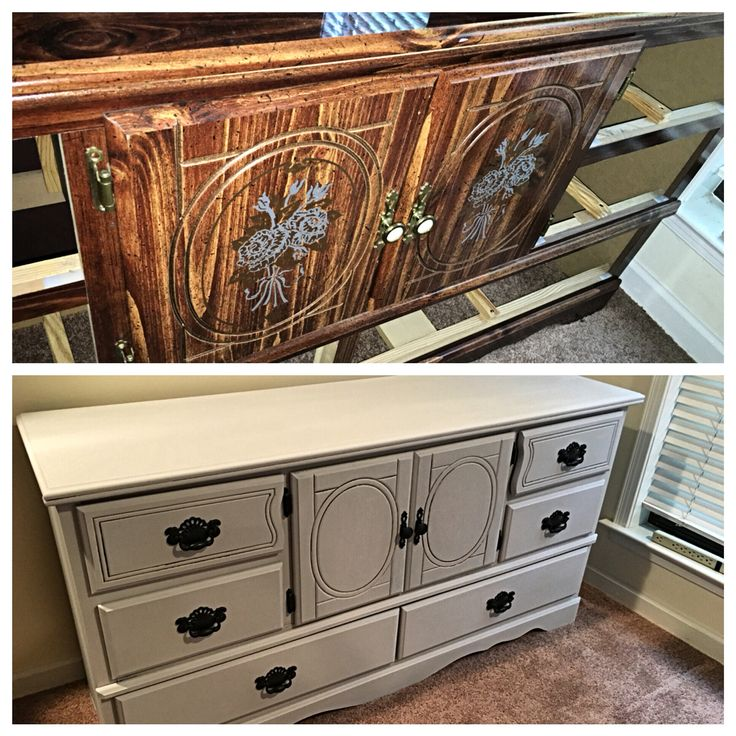 Particle board before and after with chalk paint.