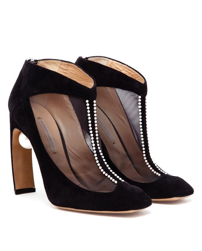 Nicholas Kirkwood Suede and Mesh Shoe Booties