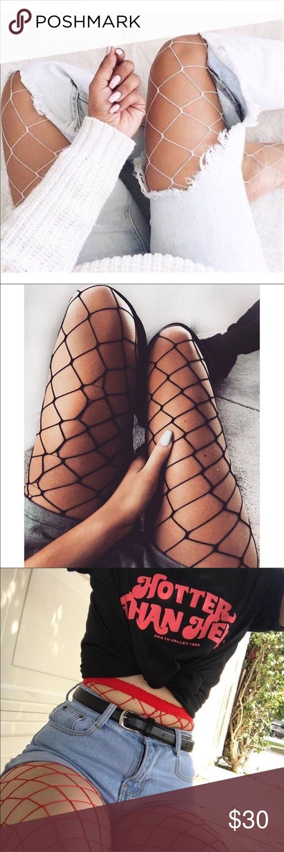 FISHNET BUNDLE ❗️✔️❕ Fishnet stocking bundle, GREAT DEAL! Get all 3  color fishnet stockings (Red, Black, and White) for $30.   🚫 No trades. 🚫 Same or next day shipping (typically) ✈️ Tagged brand for exposure Fashion Nova Accessories Hosiery & Socks