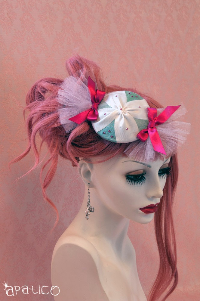 Cute Candy Hat - Teal Mint Green and Magenta Pink - Carnival Burlesque Fascinator - Ready to Ship