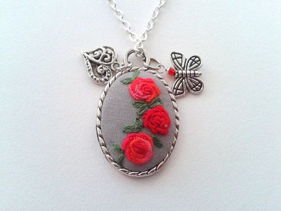 Red Roses  Romance hand embroidery jewelry necklace by ConeBomBom, $22.00