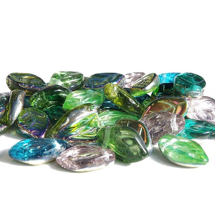 Jewery supplies -Leaves Glass Czech Beads - Vitrail Mix 7х12 mm -White Giraffe