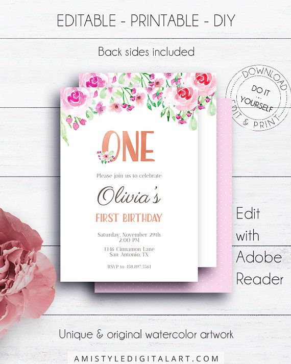 Floral First Birthday Invitation - with beautiful hand painted watercolor blush pink roses - in shabby chic styleThis adorable invitation listing is for an instant download EDITABLE PDF so you can download it right away, DIY edit and print it at home or at your local copy shop by Amistyle Digital Art on Etsy