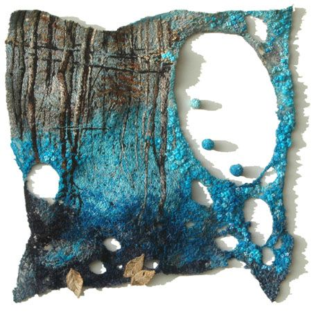 """Millions Blue Spring Droplets  by Natalie Margulis  Hand dyed fabric & wool, threads, hand stitched, embroidery - 12"""" x 12"""""""