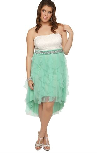 Plus Size Strapless High Low Prom Dress with Lace and Tendril Skirt