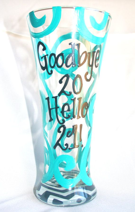 21st Birthday Chevron Personalized Custom Name 21 Birthday Wine Glass Beer Mug on Etsy, $15.00