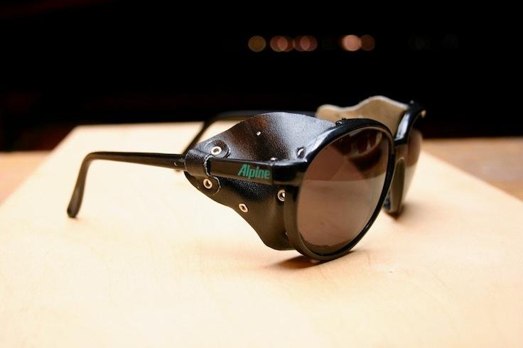 80's Black Alpine Sunglasses with Leather by classicsunglasses