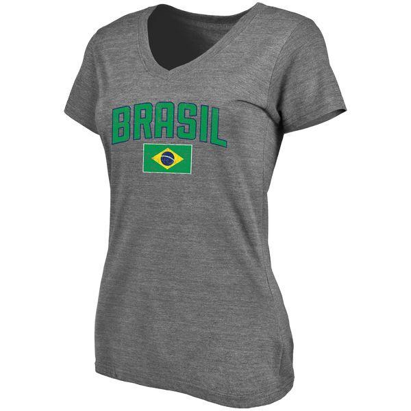 Brazil Women's Pride Tri-Blend V-Neck T-Shirt - Gray - $24.99