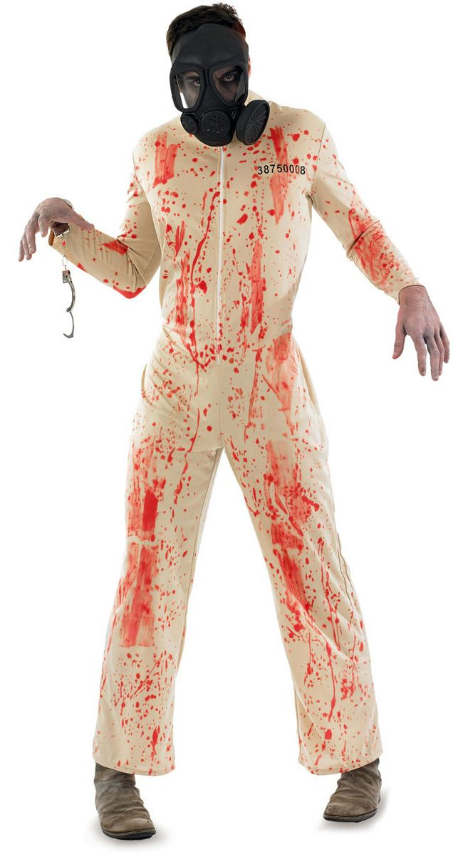 Zombie Prisoner Costume, Includes; Jumpsuit and Gas Mask. #Halloween #Fancy #Dress #Costume #Mens #Outfit #Zombie #Prisoner #Gas #Mask