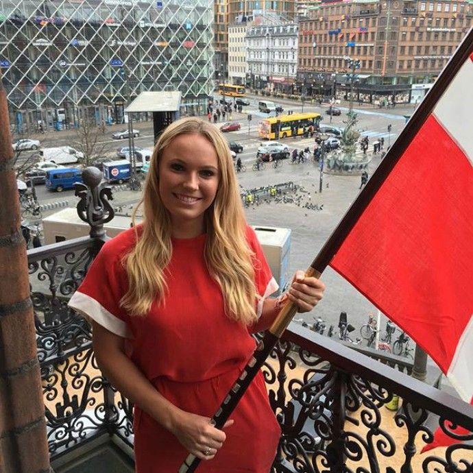 Caroline Wozniacki, porta-bandeira, Dinamarca, abertura, Rio 2016 (Foto: Reprodução / Instagram)