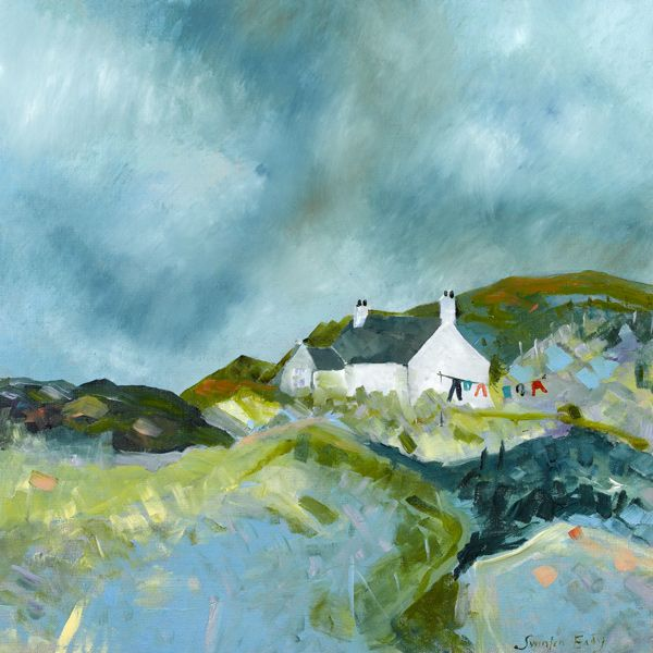 Cottage set amongst the rocks, Harris by Katherine Swinfen Eady