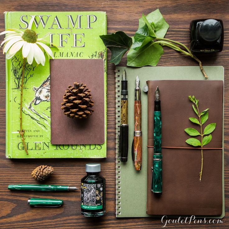 Heading into the woods? Don't forget your fountain pen and notebook! These green and brown rustic fountain pens, notebooks, and ink are perfect for a forest foray. I want it all! :)