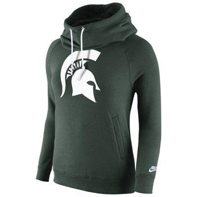 Michigan State Spartans Nike Womens Rally Funnel Hood-Rewind Sweatshirt – Green