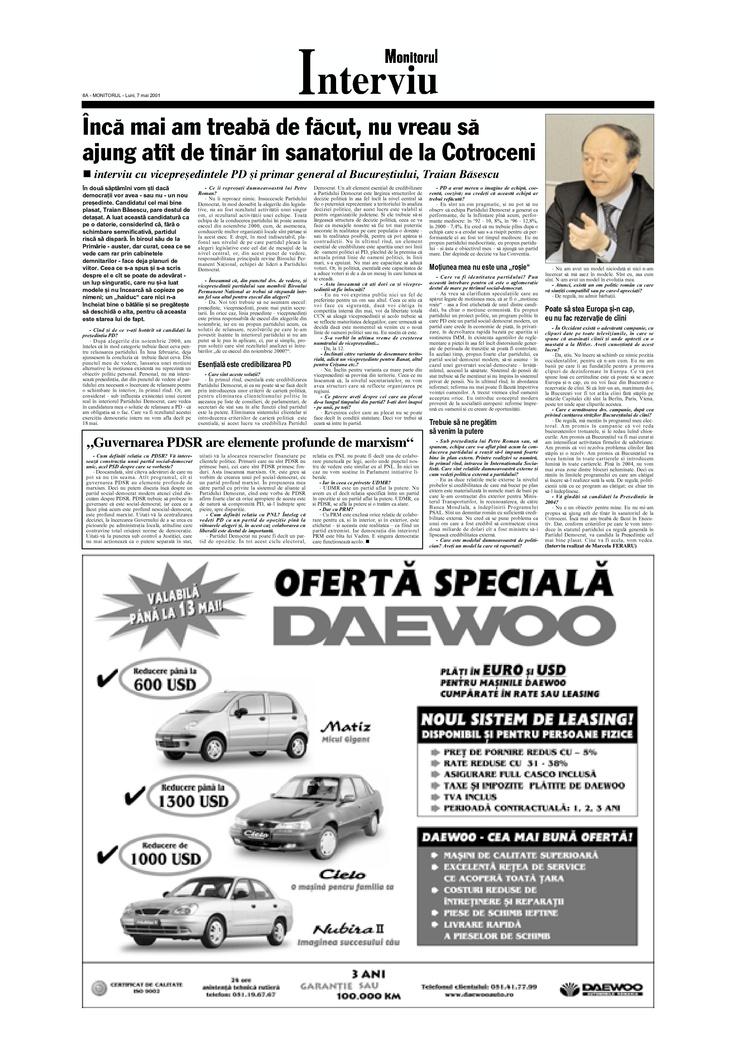 Interviu cu Traian Basescu, pe atunci proaspat presedinte al Partidului Democrat, publicat in Monitorul din 7 mai 2001