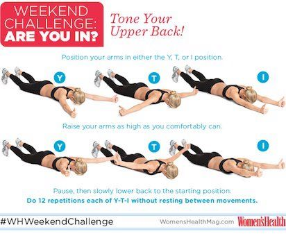 Take the #WHWeekendChallenge! The Y-T-I sequence will tone your back and strengthen your shoulder muscles. Perform 12 reps each of Y-T-I without resting between movements. So...are you in?!