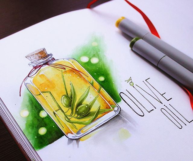 Olive oil.  6/8 #lk_sketchflashmob @art_markers #copic, #copicart, #copicmarker, #sketch, #illustration, #art, #sketchbook, #leuchtturm1917, #oliveoil, #olives