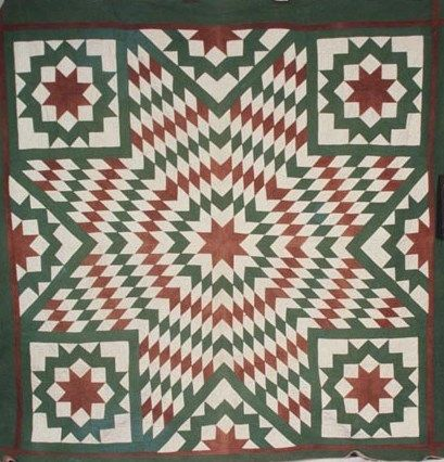 "The ""Lone Star"" or ""Star of Bethlehem"" quilt pattern featuring a large central star (composed of numerous diamonds) and multiple ""satellite"" stars is one of the most enduring and widespread designs in American quilting. Surviving examples date as far back as the 1820s, and the pattern continues to be popular today. North Carolinian Lucy McCoy made this red-and-green version in the mid–late nineteenth century. #TextileTuesday #christmas"