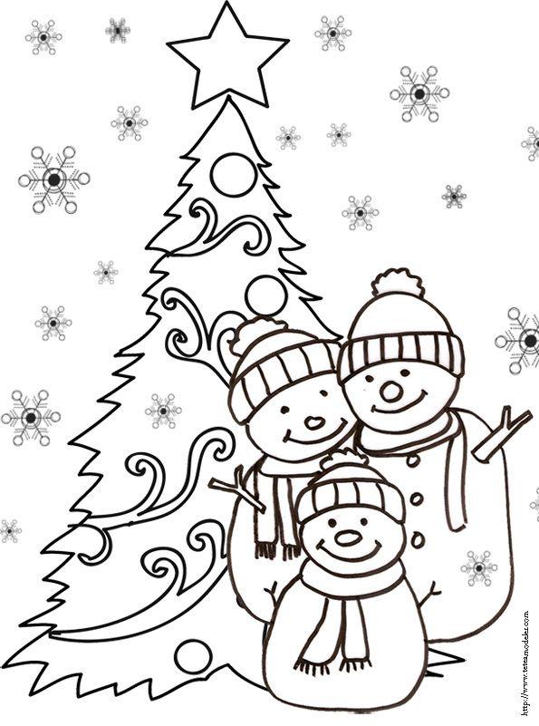 Coloriage 3 bonshommes de neige et du sapin dessin 23