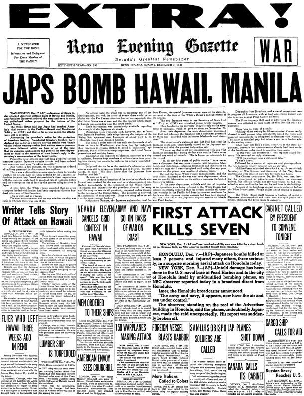 Writer tells story of attack on Hawaii by Eugene Burns Honolulu, Dec 7 – At least two Japanese bombers, their wings bearing the insignia of the rising sun, appeared over Honolulu at about 7:35 am (Honolulu time) today and dropped bombs. Unverified reports said a foreign warship appeared off Pearl Harbor and began firing at …