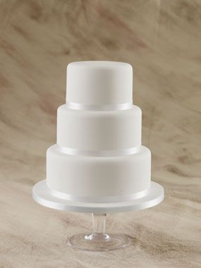 elegant, plain 3 tier round wedding cake