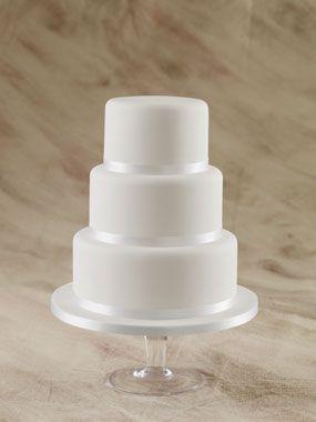 elegant, plain 3 tier round wedding cake