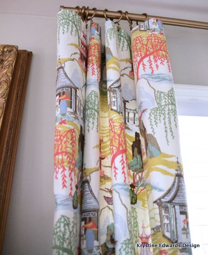Another possibly wild fabric choice for my weird dining room. Neo Toile, Coral Fabric by Robert Allen