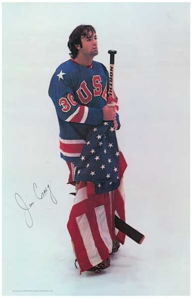 A great poster of USA Olympic Hockey Team goalie and 1980 gold medal-winner Jim Craig! Crucial to the 4-3 USA victory over USSR - one of the greatest upsets in sports history. Ships fast. 11x17 inches
