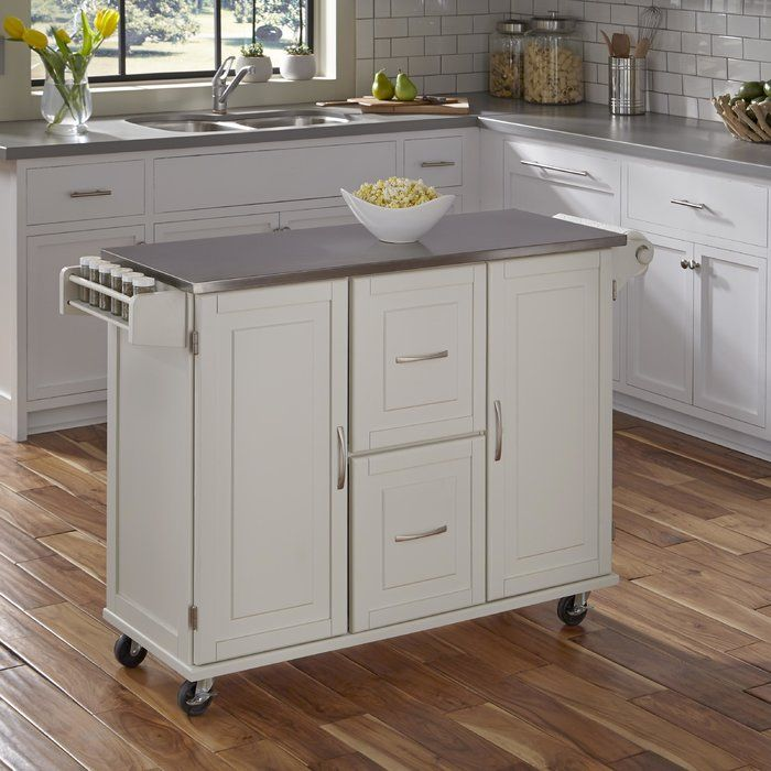 Lomas Kitchen Island With Stainless Steel White Kitchen Cart Wooden Kitchen Kitchen Furniture