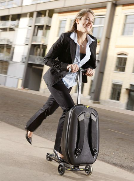 Scoot Right Through The Airport With Kick Scooter Luggage    ---  from InventorSpot.com --- for the coolest new products and wackiest inventions.