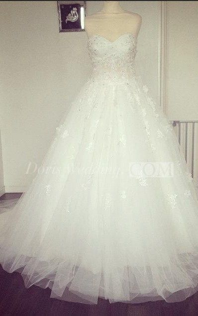 US$173.86-Sexy Sweetheart  Strapless Beaded Tulle Ball Gown Wedding Dress. http://www.doriswedding.com/sweetheart-tulle-ball-gown-with-lace-bodice-and-beadings-pET_711378.html. Follow us and get more wedding ideas and inspiration, wedding dresses for sale, quotes you will love. #DorisWedding.com