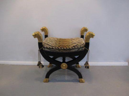 Baker Stool, Ottoman, Leopard Tasselled Cushion