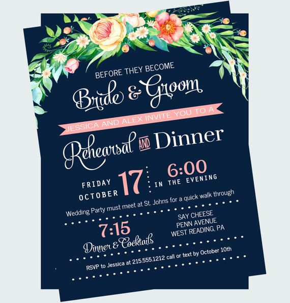 Garden Rehearsal Dinner Invitation Navy and by PaperCleverParty