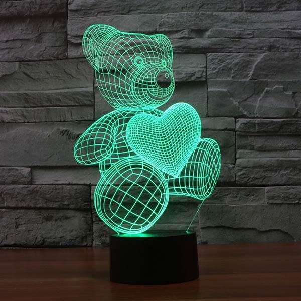 Teddy Bear With Heart Colorful 3d Led Baby Night Light Night Light Kids 3d Night Light
