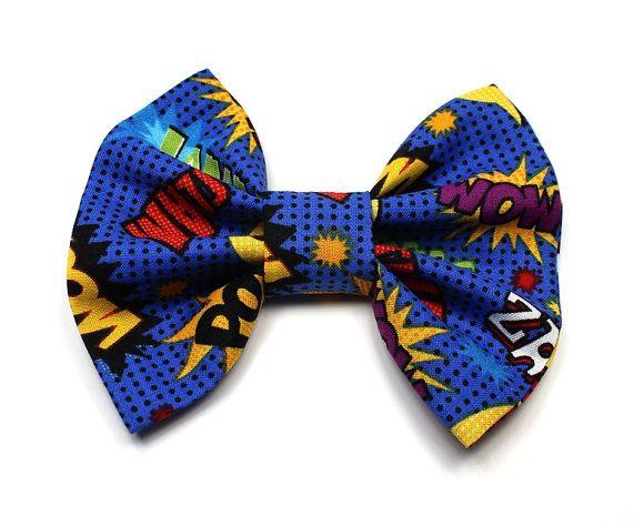 Comic Book Hair Bow - Superhero Hair Bow - Comic Strip Hair Bow - Bright Blue Hair Bow