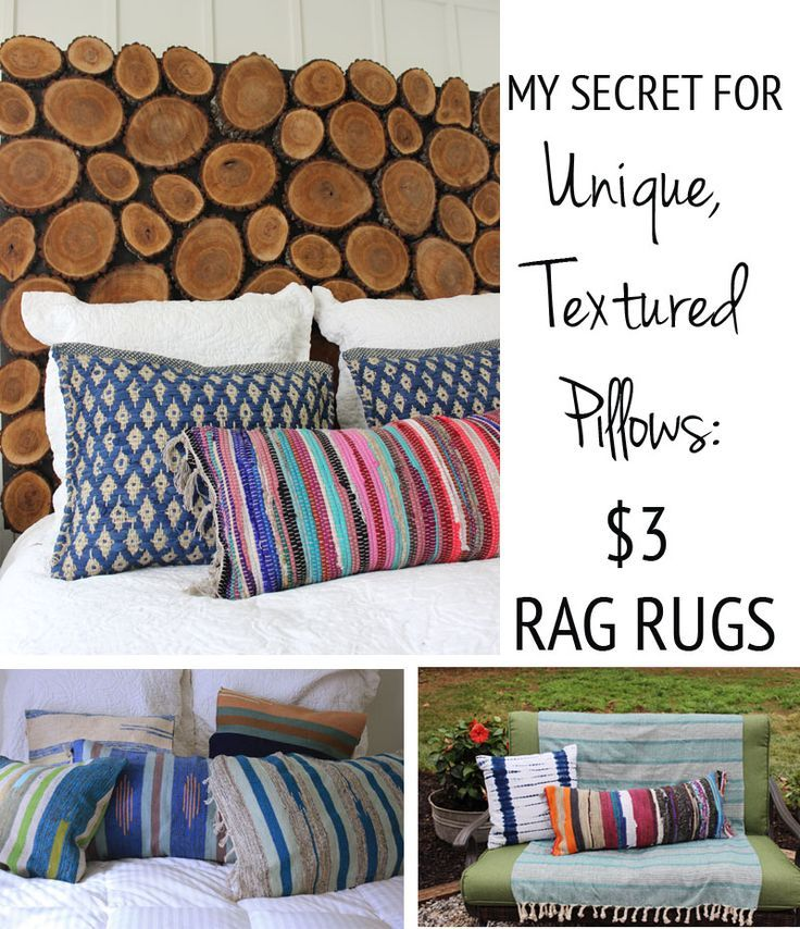 DIY Kilim-style Pillows from Cheap Rag Rugs from thewhitebuffalostylingco.com