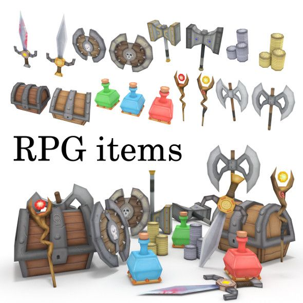 3DOcean low-poly RPG item collection 18361738