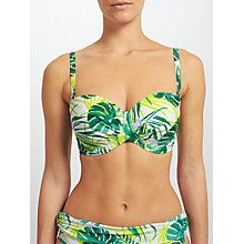 Buy John Lewis Llenya Leaf Multiway Bikini Top, White/Green Online at johnlewis.com