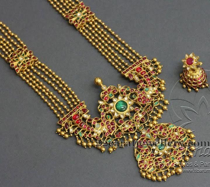 Pathakam Haram with Jhumkas - Jewellery Designs