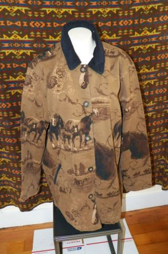 NORTH-RIVER-OUTFITTERS-Horse-Theme-Horses-Western-JACKET-Coat-WOMENS-SIZE-LARGE