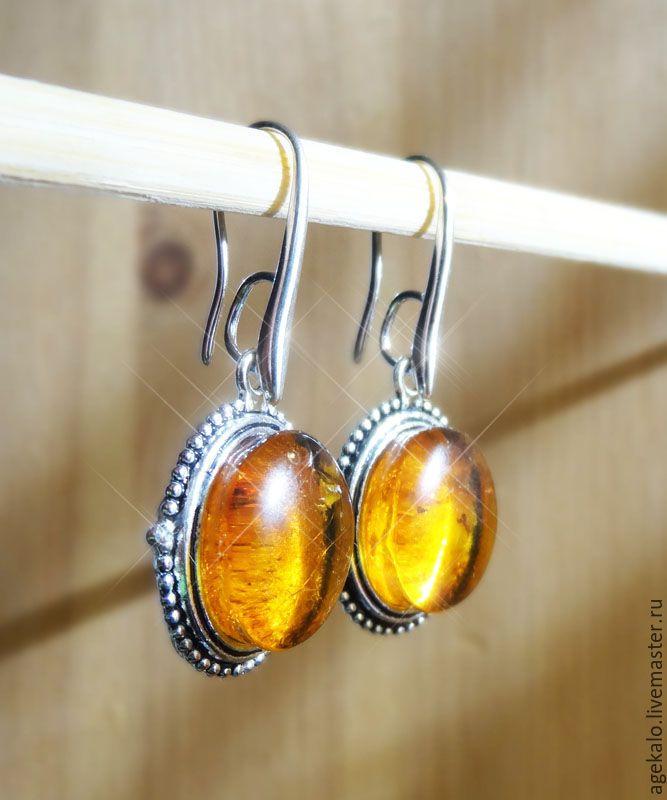 Серьги из янтаря - оранжевый, серьги, серьги с янтарем, янтарь натуральный, янтарь, колье, украшение