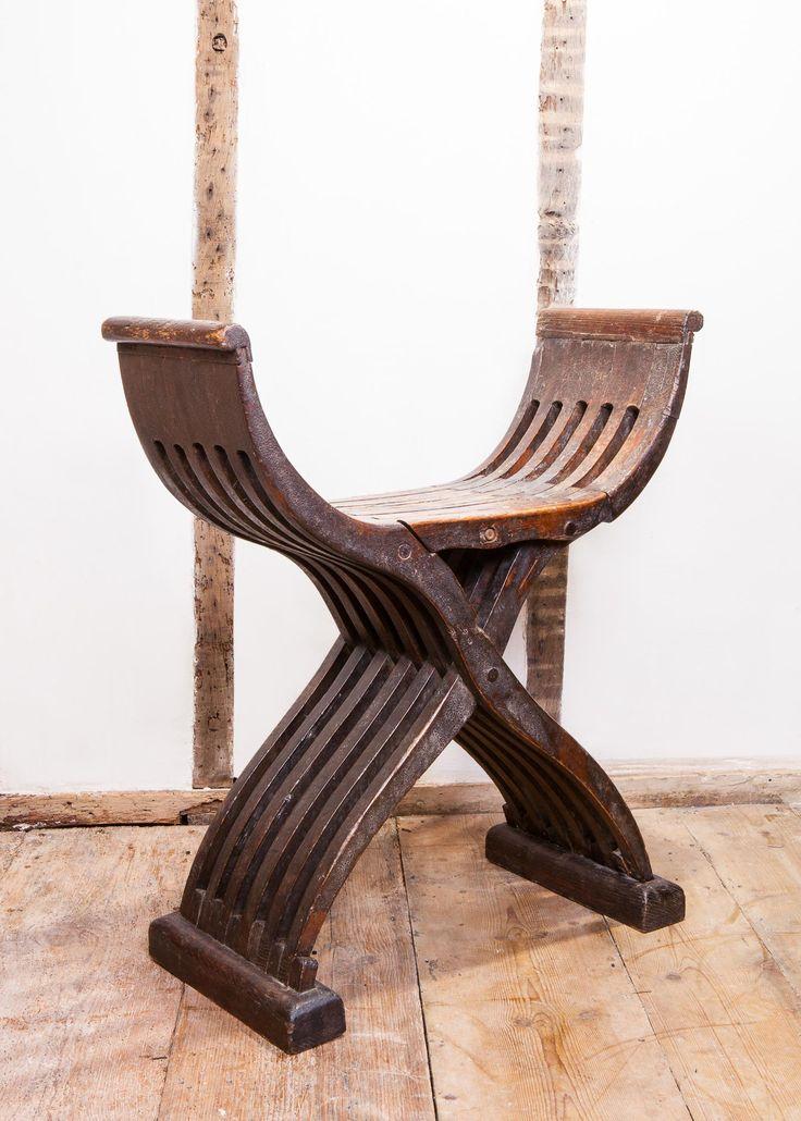 Late Gothic folding stool, late 15th century. Marhamchurch antiques