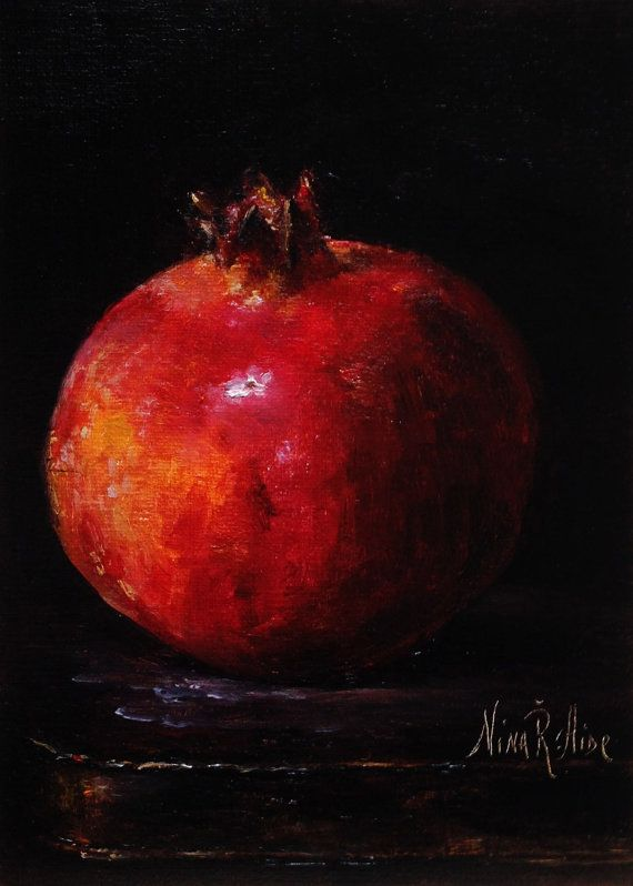 Pomegranate Garnet-Original Oil Painting by Nina R.Aide Still Life Fruit Fine Art Home Wall Decor 7x5 Linen