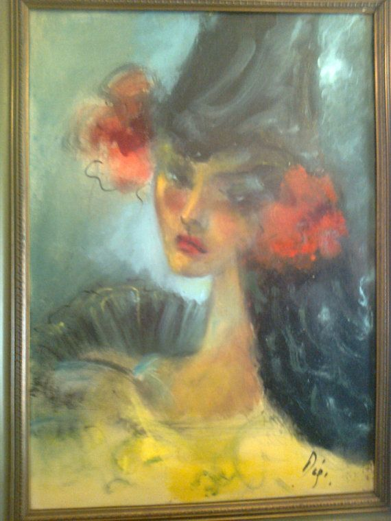 Doris  Gypsy woman  oil on canvas Original by Vintageandelegant, €3900.00