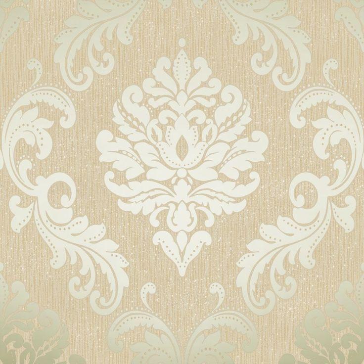 Nice Chelsea Glitter Damask Wallpaper Cream, Gold (H980508) 1