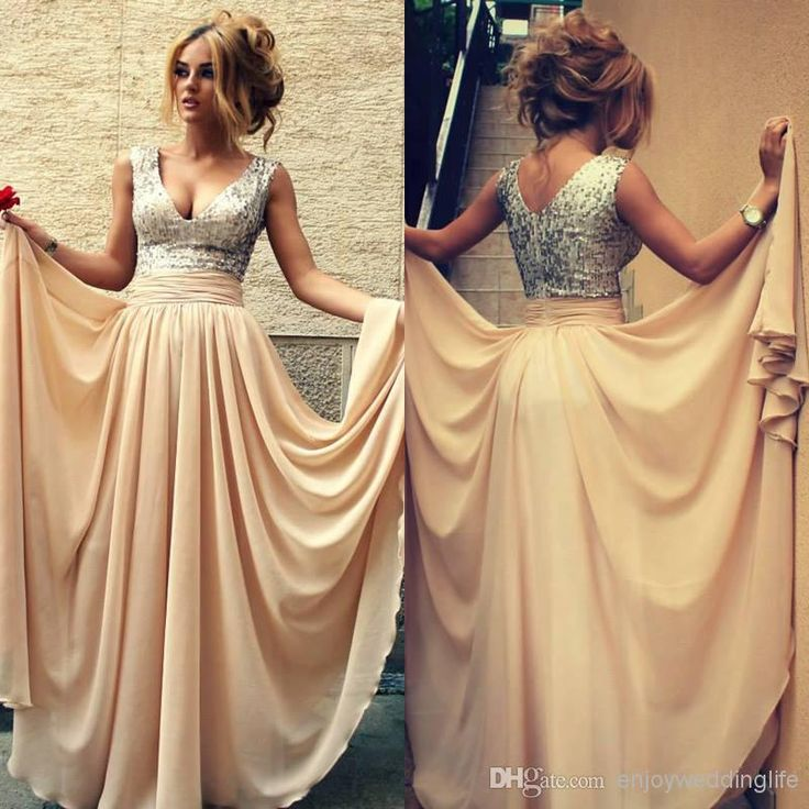 Cheap Prom Dresses - Discount Chiffon Floor Length Prom Dresses Sequins Top Ruffles Online with $120.4/Piece | DHgate