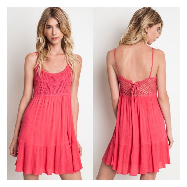🌟In Stock🌟    We are in love with this Coral Sundress!! The Crochet Bodice and Laced Back is perfection and adds the perfect pop of detail! 60% Cotton, 40% Polyester.  Sz Small fits 4-6 up to a 8  Sz Medium fits 8-10  Sz Large fits 12-14 | Shop this product here: http://spreesy.com/Shopmythreads/254 | Shop all of our products at http://spreesy.com/Shopmythreads    | Pinterest selling powered by Spreesy.com