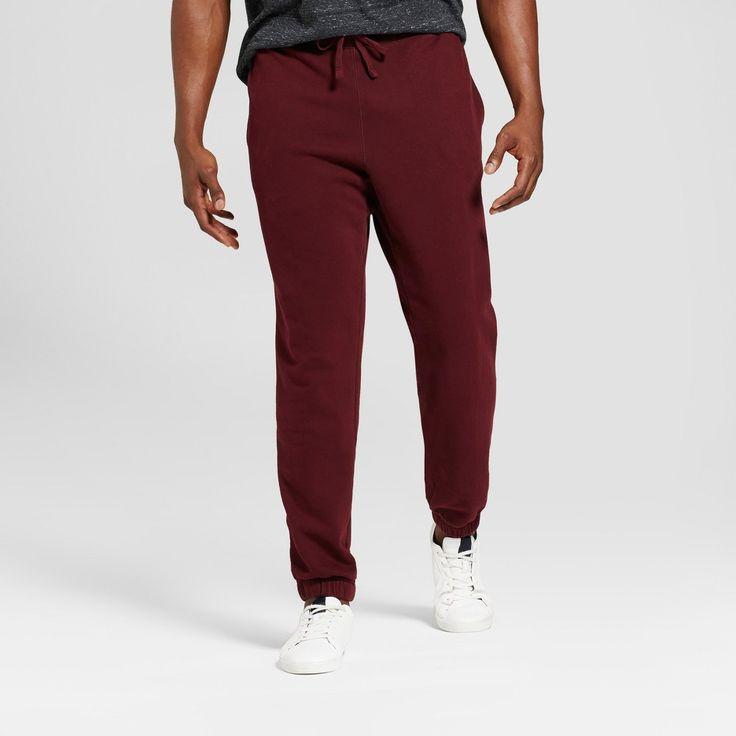 Men's Big & Tall Standard Fit Jogger Pants - Goodfellow & Co Burgundy (Red) L Tall, Size: LT