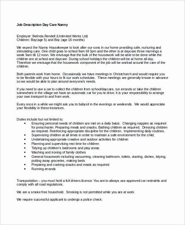 Nanny Job Description Resume Unique Sample Nanny Job Description 8 Examples In Word Pdf In 2020 Nanny Job Description Nanny Jobs Babysitter Jobs